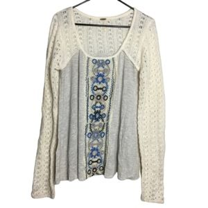 Free People Knit and Embroidered Sweater Size M